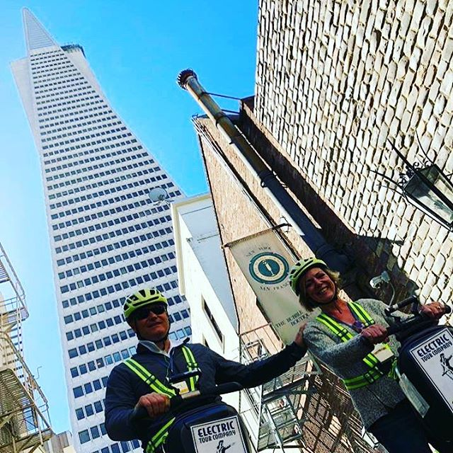 Amazing view from the base of the Transamerica Pyramid in SF. Get your family, group or company team out and see the sights via Segway or Electric Scooters. Explore amazing vistas in on your own private Vip What are your team building or sightseeing plans this fall ? Join us for a Segway or Scooter ? tour of the amazing waterfront, Little Italy and Fisherman's Wharf. .