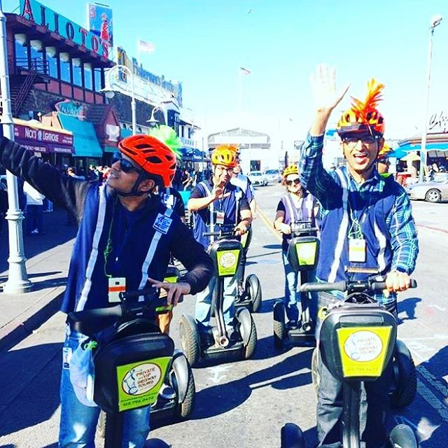 Some of our fall private group tour visitors pictured cruising through Fisherman's Wharf and then off to explore North Beach and Little Italy. Are you ready to go on an entertaining private segway tour of and ? We offer private tours for 2 to 8 guests and group tours / team building events for 8 to 100 guests. Find out more at electrictourcompany.com today or call 415-474-3130 . .